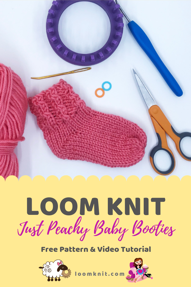 Just Peachy Baby Booties #loomknit #loomknitting #loomknitforbabies #loomknittingpatterns #freeloomknitpattern